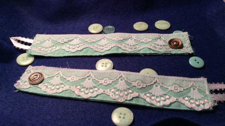Vintage Shell Lace Mint Green Mermaid Antique Button Wrist Cuff Bracelet by AliceAndBettyDesigns on Etsy
