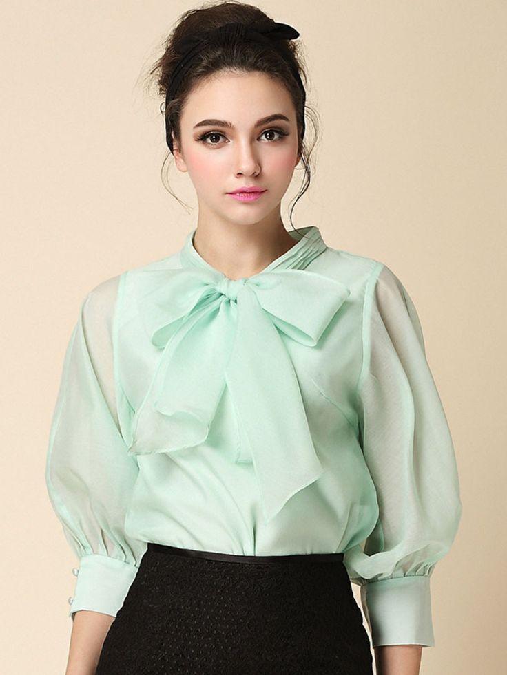Sheer chiffon bow blouse