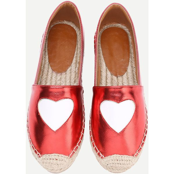 SheIn(sheinside) PU Heart Pattern Espadrille Flats (155 MYR) ❤ liked on Polyvore featuring shoes, flats, red, red flats, red espadrilles, red flat shoes, red shoes and synthetic shoes