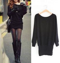 2015 nouvelles femmes noir manches chauve - souris à Long tricot tricots cavaliers pull sac - Hip Mini - robe pull Casual Tops 2108(China (Mainland))
