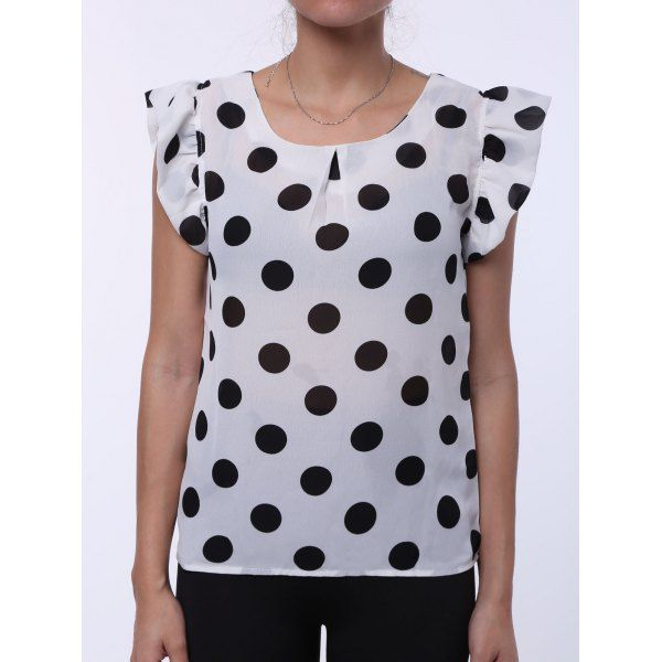 $7.30 Chic Round Neck Short Sleeve Polka Dot Print Flounced Women's Blouse