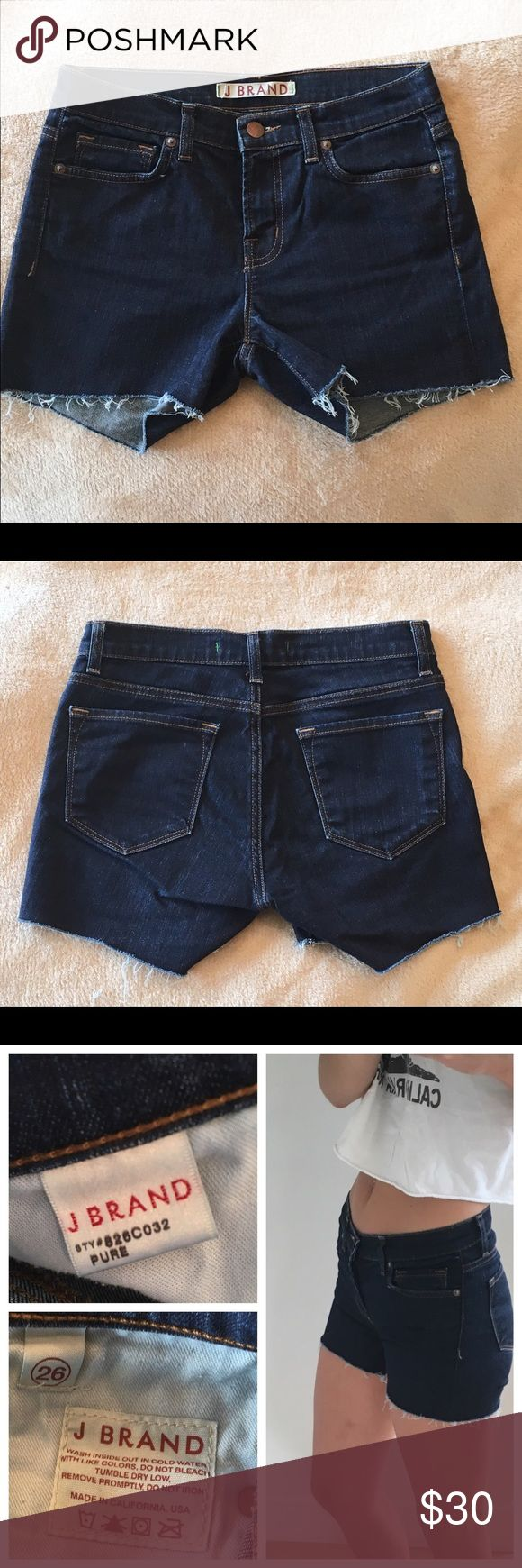 """J Brand Low Rise Cut Off Shorts J Brand Pure Skinny 826C032 Low Rise Womens Jeans. Size 26. Color/wash: Pure. Made into cut off shorts. Can be worn cuffed or uncuffed. 5-pocket styling. Single-button closure and zip fly. Super comfortable. Material: 94% Cotton, 5% Polyester, 1% Spandex — Style #826C032 — Cut #5037. Approx measurements: Rise: 8.25-8.5"""" & Inseam: 3.5"""" Let me know if you have any questions. J Brand Shorts Jean Shorts"""