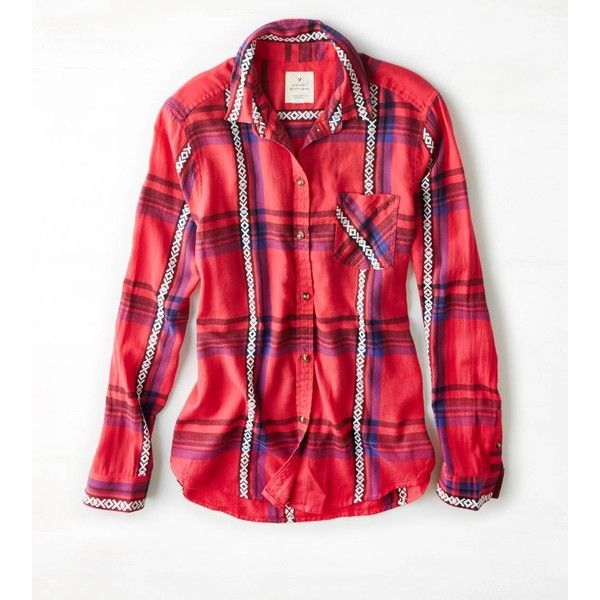 American Eagle Jaquard Plaid Shirt ($37) ❤ liked on Polyvore featuring tops, red, plaid woven shirt, woven shirts, red plaid top, red flannel shirt and tartan shirt
