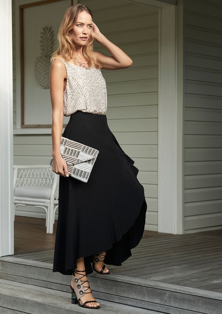 sequin cami and black skirt