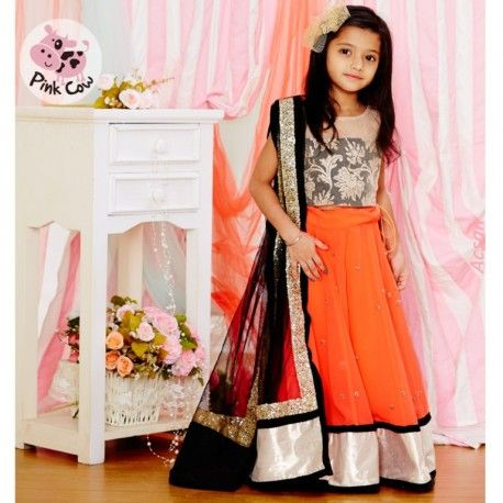 Pink Cow Embroidered Ghagra Choli #MyBabyCart #PartyDresses #Lehenga