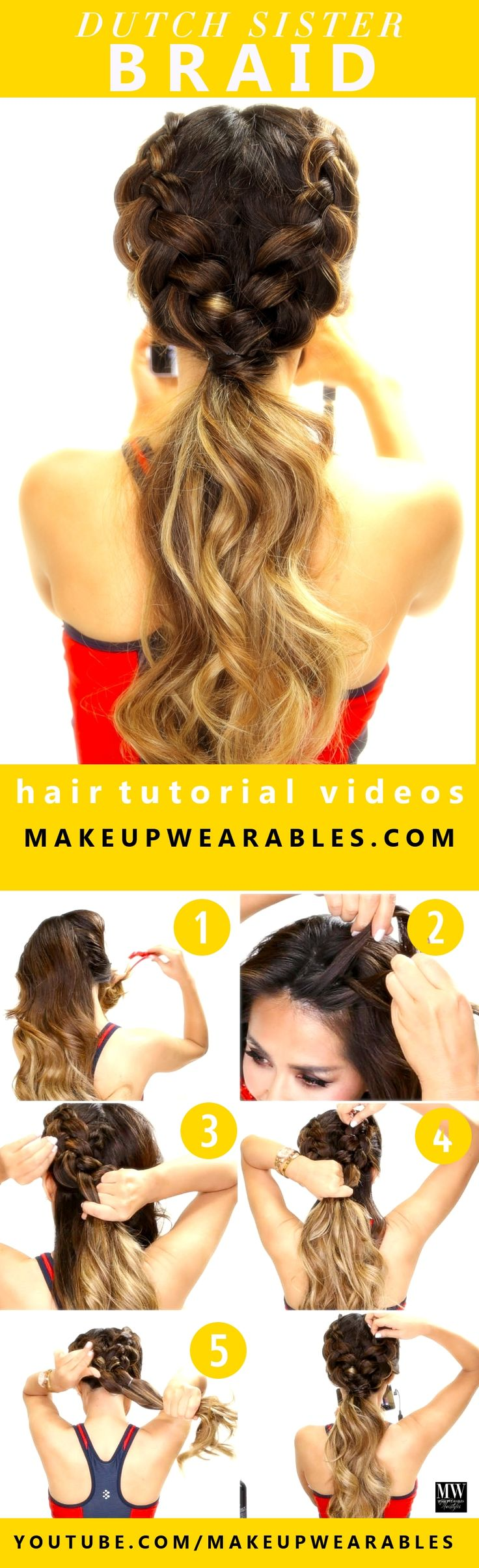 How to easy Dutch braid workout hairstyles for long medium hair - This hairstyle is a double Dutch braid ponytail well suited for school, sports, workouts, and fitness activities. All you short haired girls can rejoice, this can be done on short hair as well! - If you like this pin, repin it and follow our boards :-) #FastSimpleFitness - www.facebook.com/FastSimpleFitness