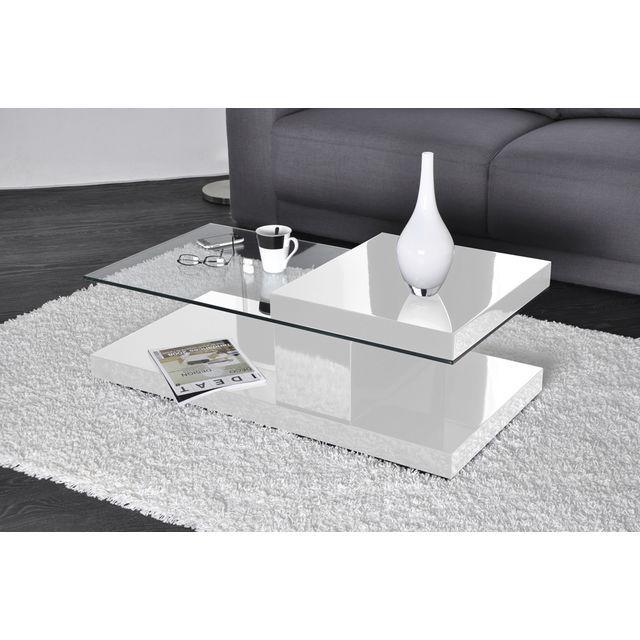 STAN -  STAN Table basse pivotante, verre et bois, blanc laqué