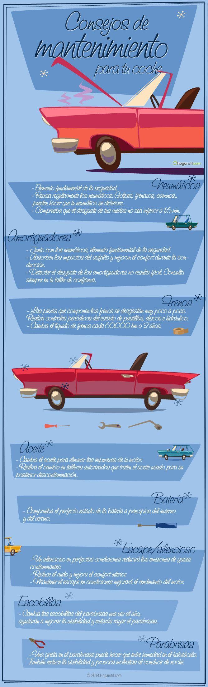 Infografía con consejos de mantenimiento para tu coche #infografia #coche
