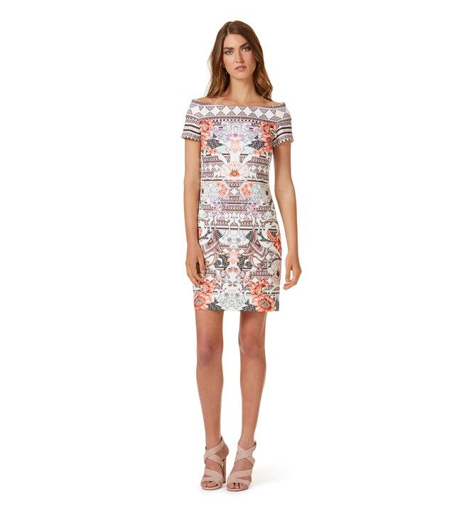 Table Eight Aspen Off Shoulder Print Dress