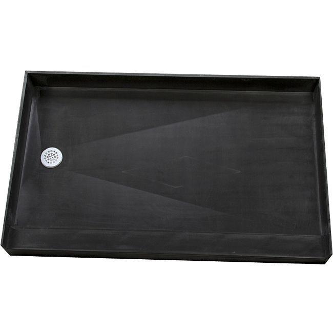 "Tile Ready Shower Pan 34 x 60 Left PVC Drain (Shower Pan black 34x60 Left PVC Drain), Size 34"" x 60"""