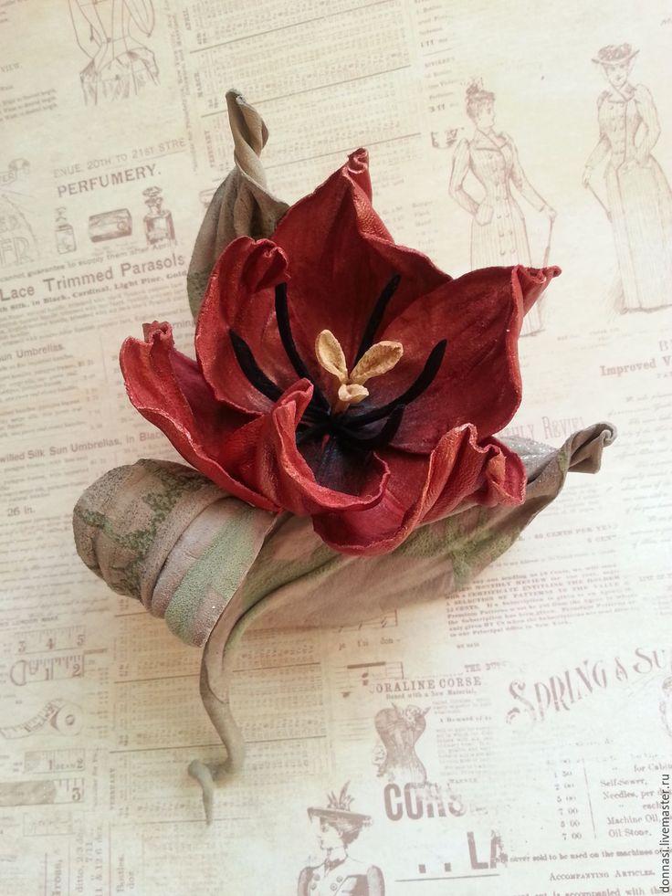 """Купить Цветы из кожи. Тюльпан """"Танго"""" - ярко-красный, цветы из кожи, цветы из натуральной кожи"""