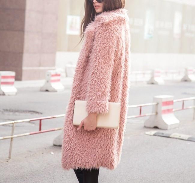 Hip Luxury Pink Long Sleeve Faux Fur Fluffy Jacket, Plush Fake Lamb Wool Furry Coat, International Sizing, Please Read Size Chart