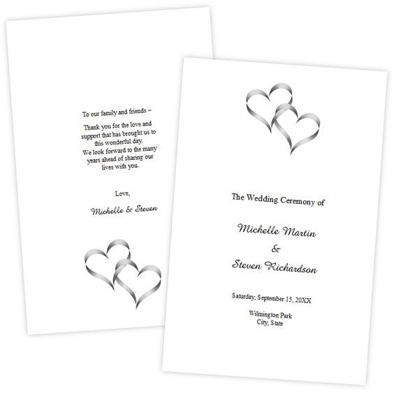 Folded Wedding Program Template   Two Intertwined Hearts   DIY Printable  Template   Instant Download   Microsoft Word File
