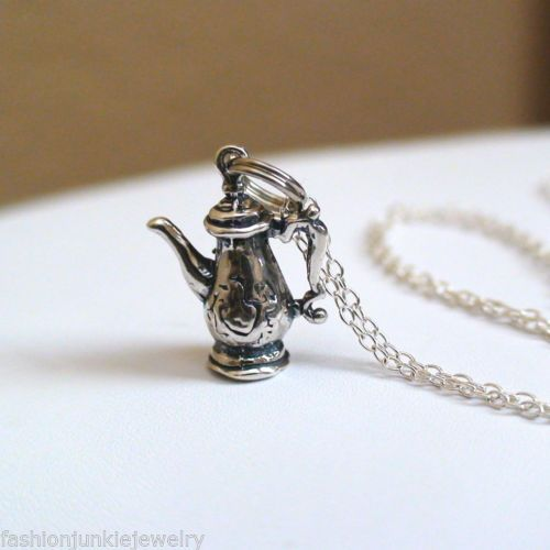 Teapot Charm Necklace - 925 Sterling Silver Charm Necklace NEW Victorian Tea Pot