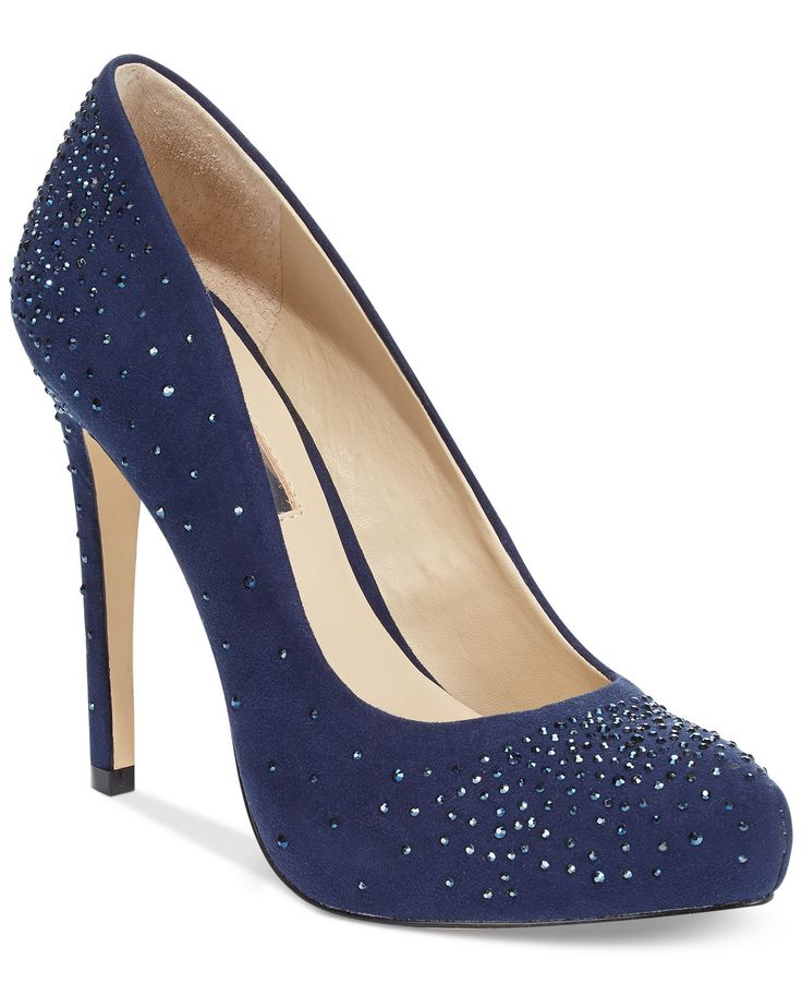 """For the true fashionista. The Bindy2 evening pumps add sparkly style and comfort, thanks to the rhinestone accents and padded foam insert down below. Imported Suede upper Almond closed-toe evening pumps 1/2"""" platform, 4-1/2"""" heel Man-made sole #heel #women #shoes #style #comfort #shoes"""