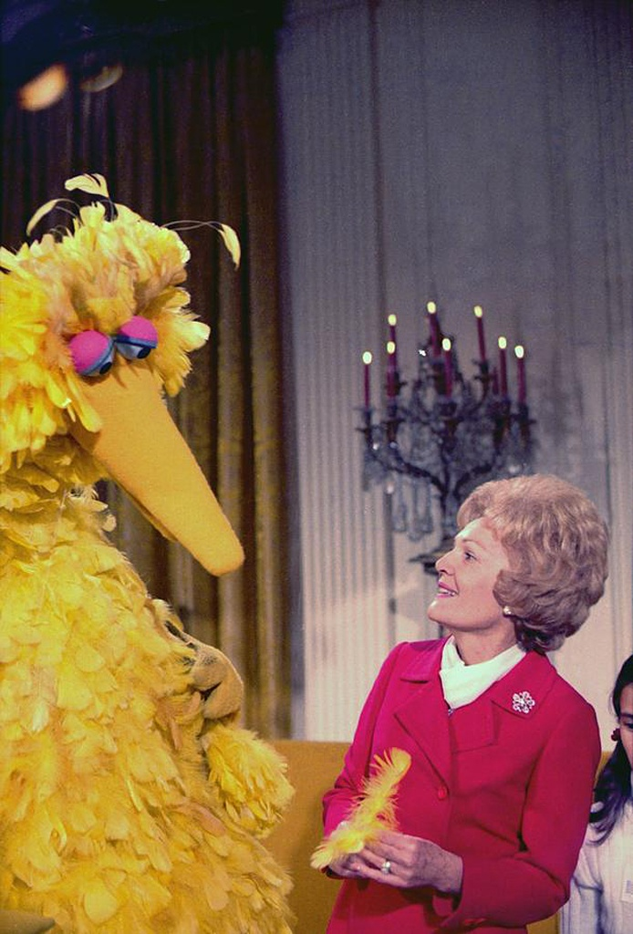 First Lady Pat Nixon & Big Bird in the White House, Dec. 20, 1970.