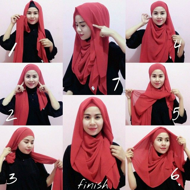 Beautiful Red Full Coverage Hijab Tutorial