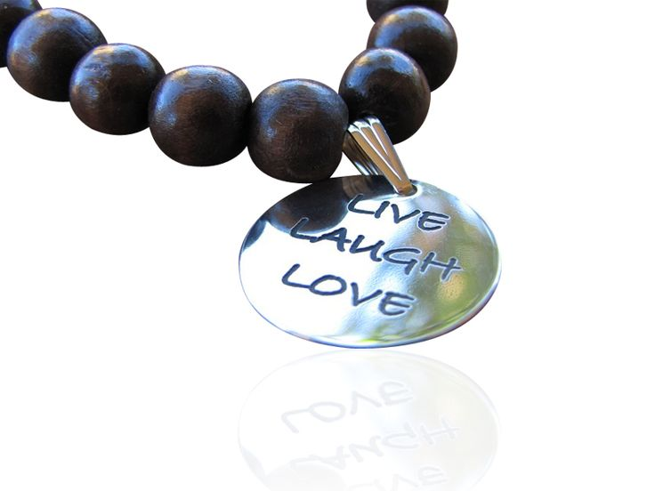 Personalised bracelet perfect for a teacher git. Wooden 10mm beads in various colours with Sterling Silver pendnats that can be personalised with names, words or dates.  Available at Sweet Sweet Silver
