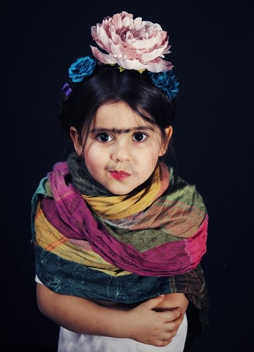 Mini Frida Kahlo, a Halloween costume purely for a parent's enjoyment.