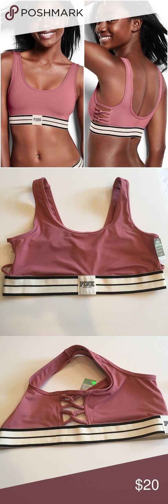 🎁VS Pink Sports Bra🎁 Super cute sports bra from PINK! Sexy mauve pink color with cream and black detailing, full coverage with side cutouts, designed for light impact activities. Layer under mesh or a muscle tee for the perfect summer look! Size L, NWT, never worn, purchased at local PINK store. 🚫TRADES🚫LOWBALLING🚫OFFLINE TRANSACTIONS🚫 ✅BUNDLES✅REASONABLE OFFERS✅ Happy Poshing! 😄 PINK Victoria's Secret Intimates & Sleepwear Bras