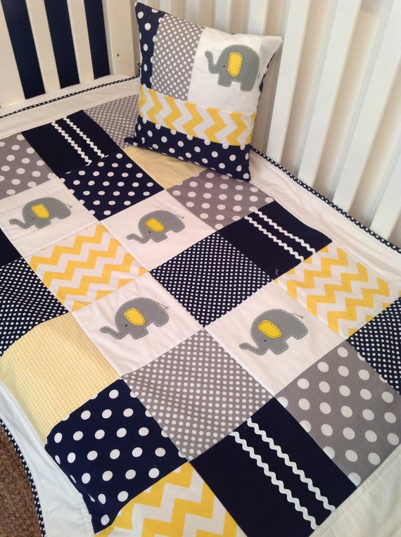 Elephant Crib Quilt    in navy  gray and yellow by AlphabetMonkey, $170.00