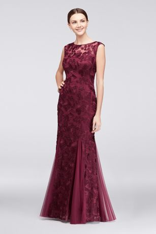 Elegant Wine colored lace embellished Mother of the Bride gown