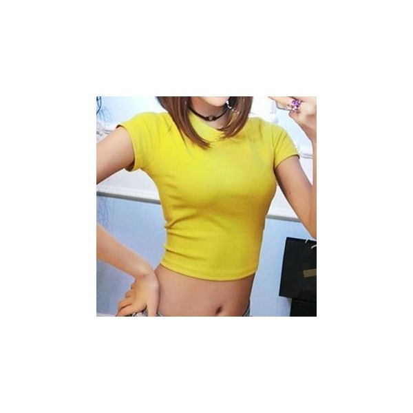 Plain Cropped Short Sleeve T-Shirt (£8.56) ❤ liked on Polyvore featuring tops, t-shirts, tees, women, cotton t shirts, yellow t shirt, short sleeve cotton tops, crop tee and short sleeve t shirt