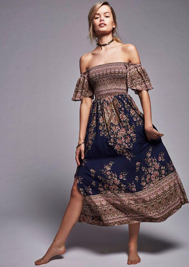 Free People - Louise Border Print Midi Dress