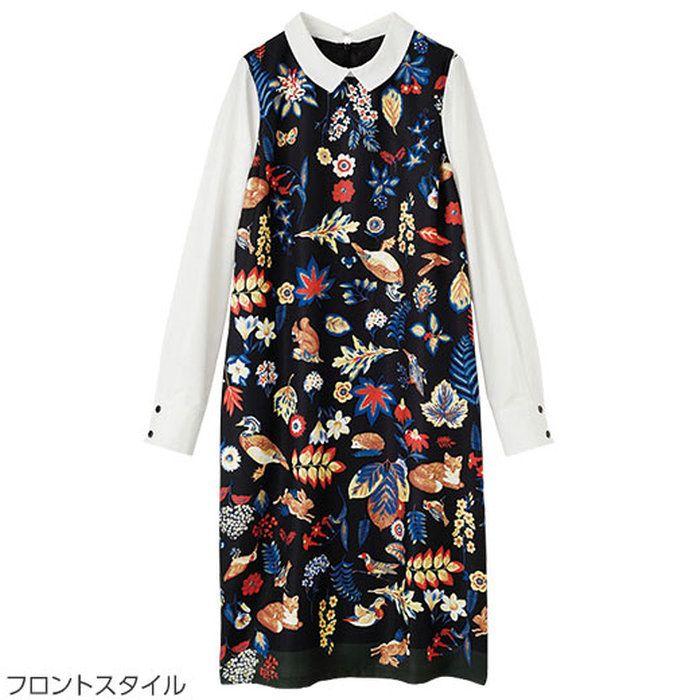 ≪2015秋新着≫シャツレイヤード風ワンピースベルーナラナンRanan【30代40代レディースファッション】