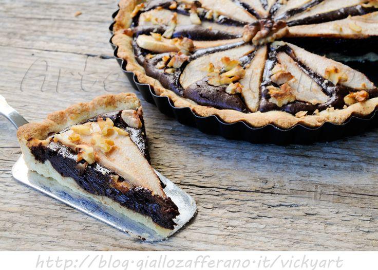 Crostata+con+noci+cioccolato+e+pere+ricetta+dolce