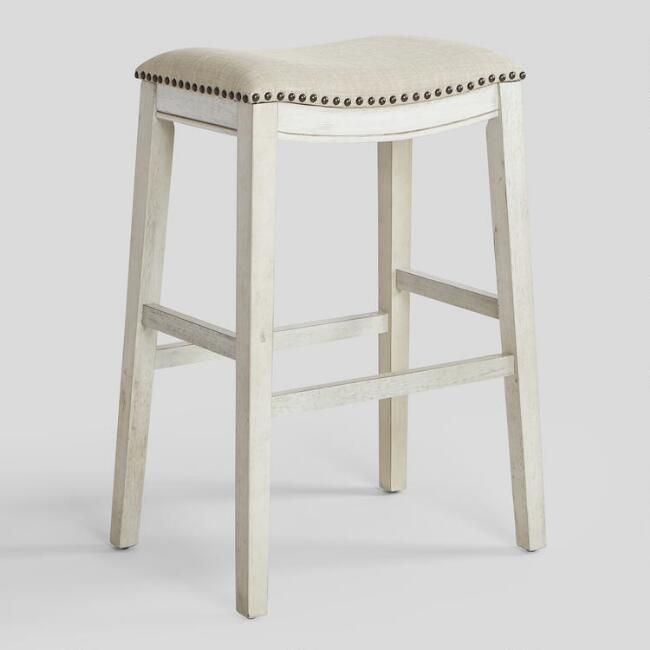 Antiqued Upholstered Jayceson Barstools Set Of 2 With Images