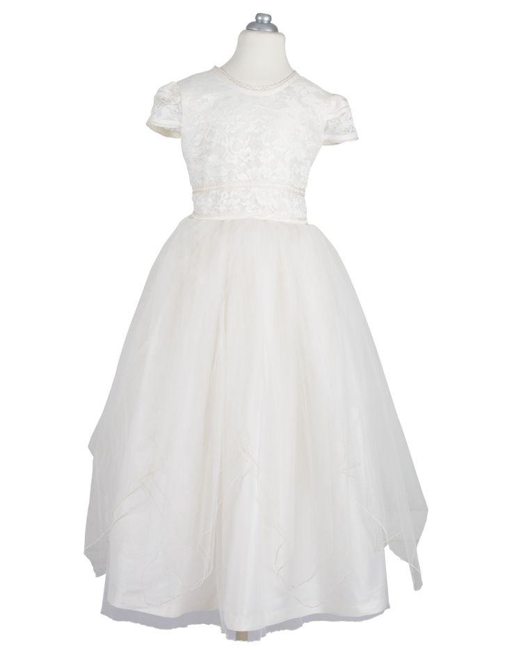 LINDA -Hermoso vestido de shantung con falda de velos en picos, encaje en talle, gabeado a mano, galón con bies en cuello, mangas y cintura.  Incluye: Vestido, crinolina, velo y limosnero.