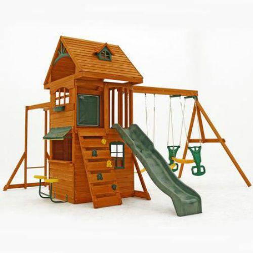 Kids Wooden Outdoor PlaySet Swing Slide Backyard Playground Playhouse Kids  #KidsWoodenOutdoor