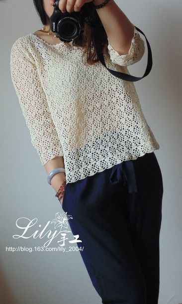 Джемпер крючком Crochet Textured Top - Страна Мам