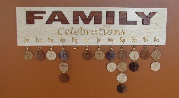 Wood Calendar Family Celebration Board  by RCOriginalsGallery