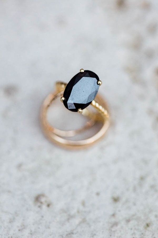 Black diamond engagement ring with gold band | Mary Claire Photography