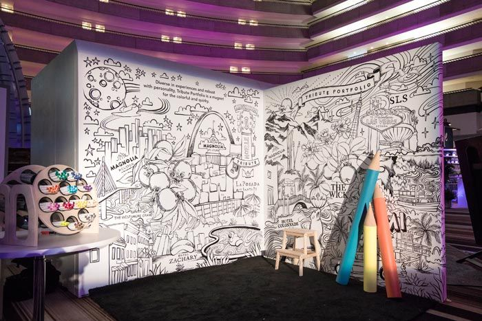 P Tribute Portfolio S Add Your Own Color Featured A Life Size Coloring Book Inspired Corporate Event Design Corporate Events Decoration Conference Design