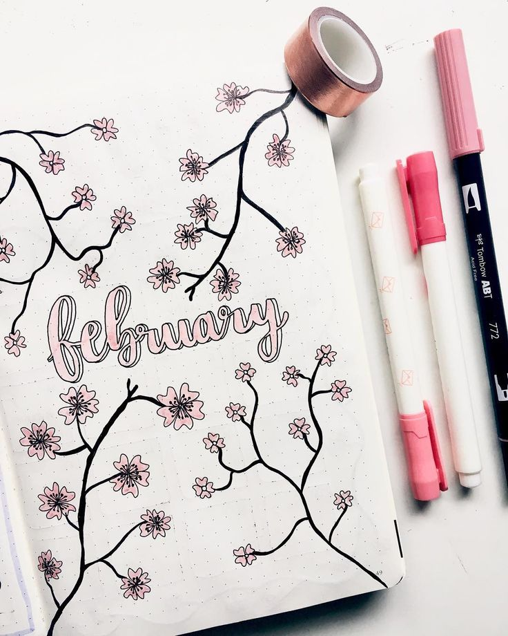 Bullet journal monthly cover page, February cover page, flower drawing, floral drawing. | @jennsbujo
