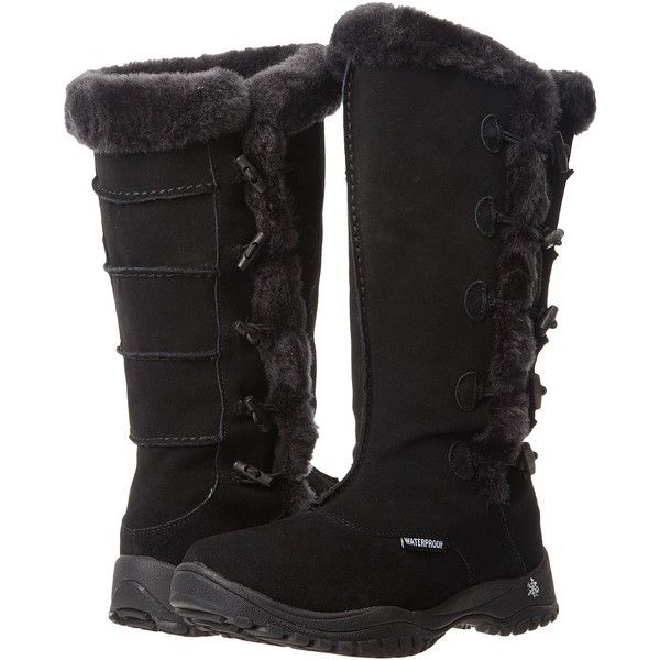 Baffin Loki (Black) Women's Boots ($66) ❤ liked on Polyvore featuring shoes, boots, black, water proof boots, special occasion shoes, baffin boots, nubuck boots and black waterproof boots
