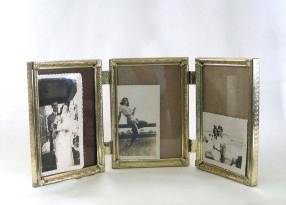 Vintage Trifold Gold Metal Frame 3-Way Frame 5 x 7 inch Mid