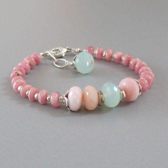 Rhodocrosite Pink Peruvian Opal Ocean Chalcedony Sterling Silver Bracelet DJStrang Gemstone Boho Cottage Chic