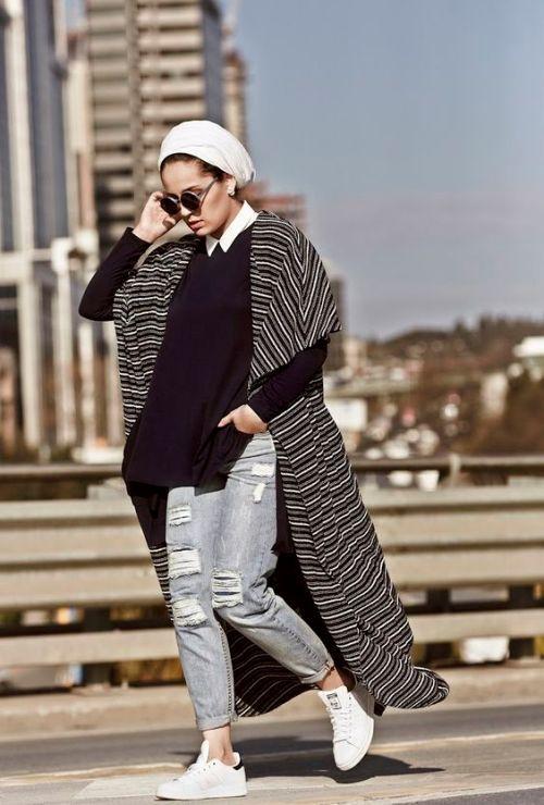 black cardigan turban hijab
