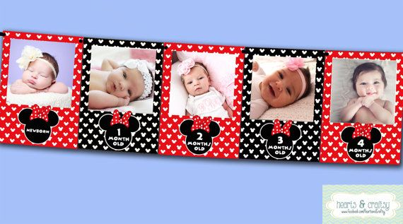 Minnie Mouse First Year Photo Banner / 12 Month Banner / Minnie Mouse First Birthday Party / RED / Printable