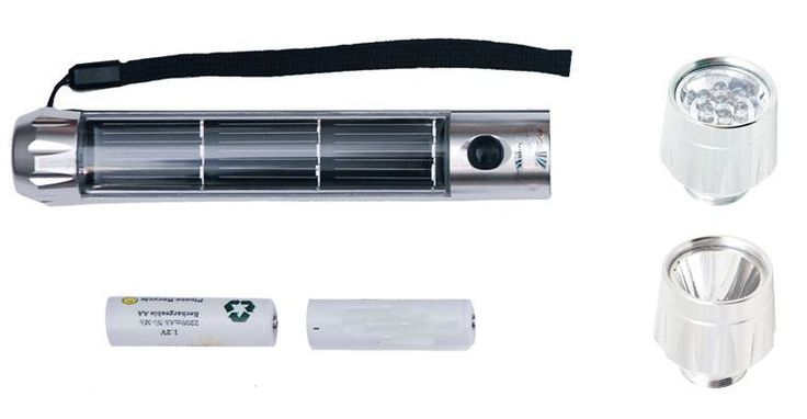 Solar flashlight with dual heads.