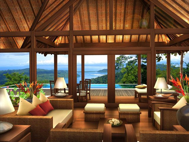 Rendering of living area of bali style home
