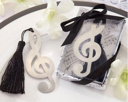 Бесплатная Доставка Серебристого Металла Музыка Закладки с Кисточкой Свадебные Подарки Пользу Душа Ребенка День Рождения Сувениры Подарки Для Гостей