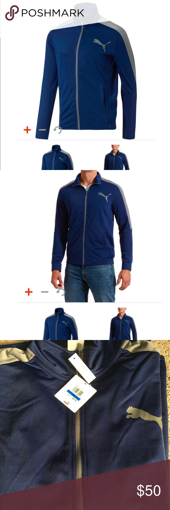 "CONTRAST TRACK JACKET If ""casual and cool"" describes you to a tee, this track jacket is your perfect match. The relaxed fit lets you layer without the bulk, while the sporty design means easy style when you're kicking back.  Features  100% Polyester Full zip closure Dual side pockets Contrast side panels PUMA Cat Logo at left chest Size & Fit  Model in ebony/PUMA black color wearing size M Model measurements: height 6'2"", waist 31"", inseam 32"" Puma Jackets & Coats"