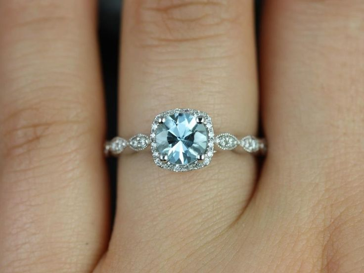 This ring is beautiful and simple enough | Rosados Box Christie 6mm White Gold Round Aquamarine Cushion Halo WITH Milgrain Engagement Ring