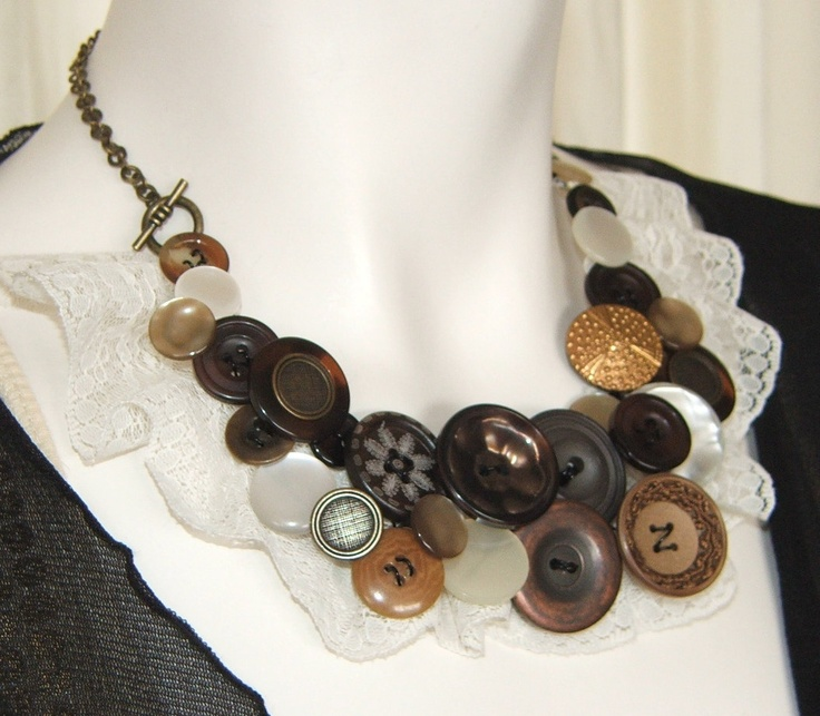 Beautiful brown button necklace but would like it without the lace