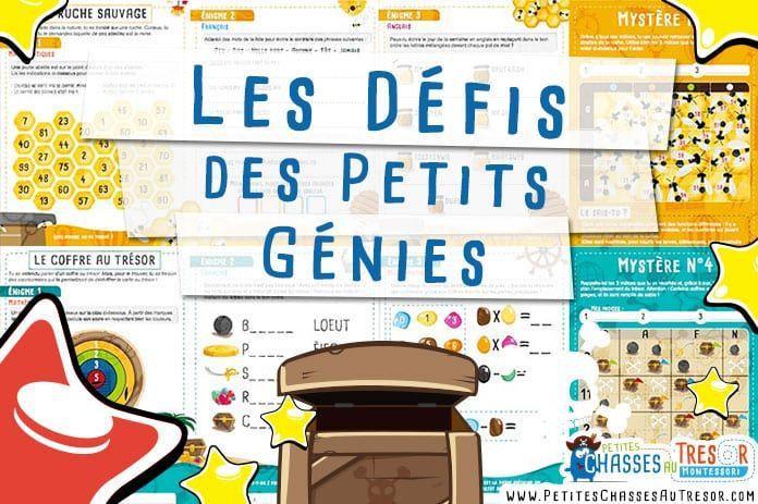 Cahiers d'activités ludiques pour les enfants de 6 ans à 11 ans. Les Défis des Petits Génies pour les enfants qui aiment les aventures éducatives.